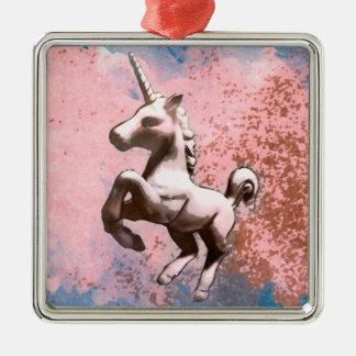 Unicorn Ornament - Square Premium (Faded Sherbet)