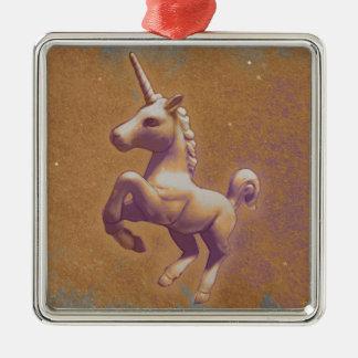 Unicorn Ornament - Square Premium (Metal Lavender)