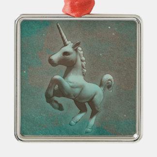 Unicorn Ornament - Square Premium (Teal Steel)