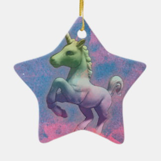 Unicorn Ornament - Star (Cupcake Pink)