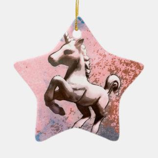 Unicorn Ornament - Star (Faded Sherbet)