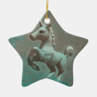 Unicorn Ornament - Star (Teal Steel)
