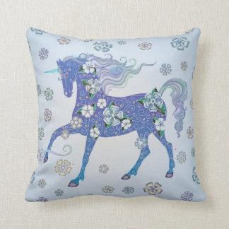Unicorn Pale Blue in Flowers Cushion
