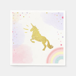 Unicorn Paper Napkin Pink Gold Magical Birthday