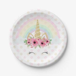 "Unicorn Paper Plates 7"""