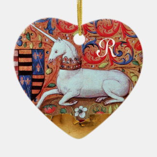 UNICORN PARCHMENT HEART MONOGRAM,RED RUBY GEMSTONE Double-Sided HEART CERAMIC CHRISTMAS ORNAMENT