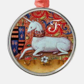 UNICORN PARCHMENT MONOGRAM Silver-Colored ROUND DECORATION