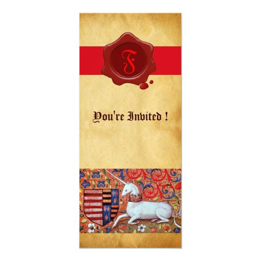 UNICORN PARCHMENT RED WAX SEAL MONOGRAM 10 CM X 24 CM INVITATION CARD