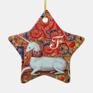 UNICORN PARCHMENT STAR MONOGRAM,RED RUBY GEMSTONE Double-Sided STAR CERAMIC CHRISTMAS ORNAMENT