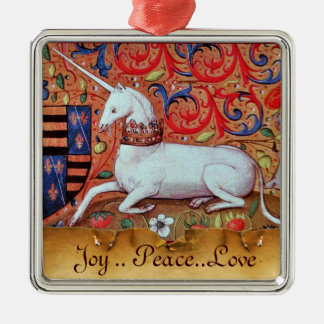 UNICORN PARCHMENT WITH RED RUBY GEMSTONE SQUARE METAL CHRISTMAS ORNAMENT