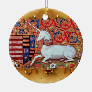 UNICORN PARCHMENT WITH RED RUBY GEMSTONE Double-Sided CERAMIC ROUND CHRISTMAS ORNAMENT