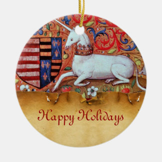 UNICORN PARCHMENT WITH RED RUBY GEMSTONE ORNAMENT