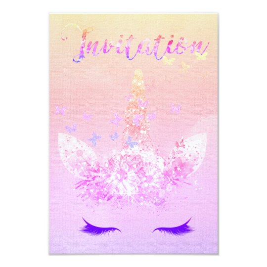 Unicorn Party Glitter Lashes Pink Ombre Fairly Card