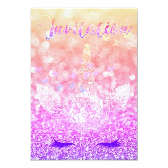 Unicorn Party Glitter Lashes Pink Rainbow Fairly Card