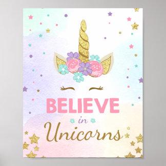 Unicorn Party Sign Believe in unicorns birthday