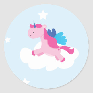 Unicorn Party Sticker Round Stickers