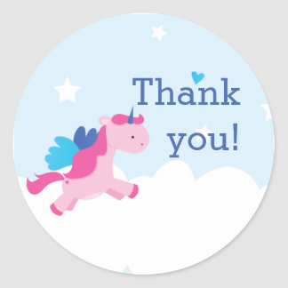 Unicorn Party Stickers Round Stickers
