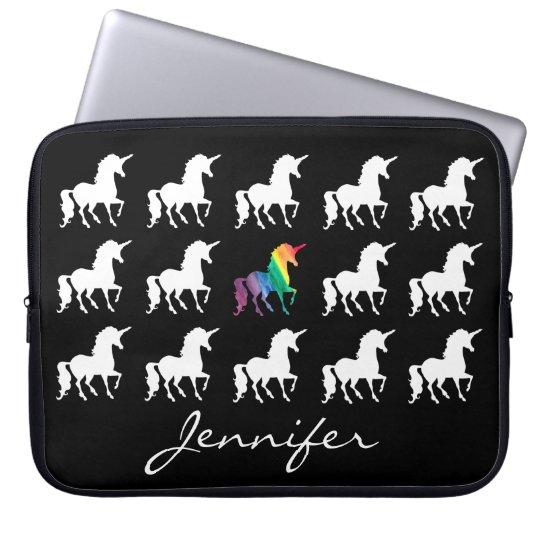 unicorn pattern personalised black white girls laptop sleeve