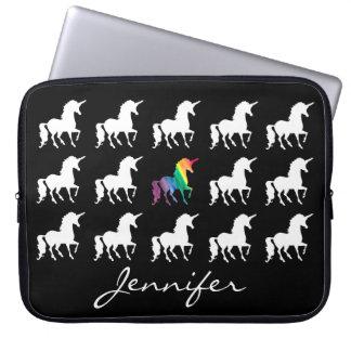 Unicorn Pattern Personalized Black White Girls Laptop Sleeves