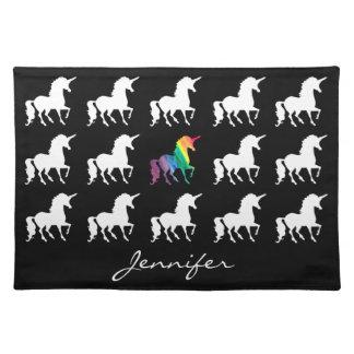 Unicorn Pattern Personalized Black White Rainbow Placemat