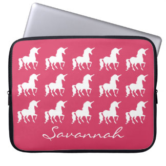 Unicorn Pattern Personalized Pink Silhouette Girls Laptop Sleeve