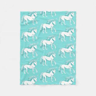 Unicorn Pattern Turquoise Fleece Blanket
