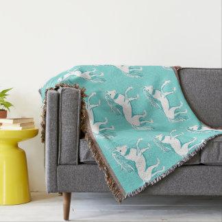 Unicorn Pattern Turquoise Throw Blanket