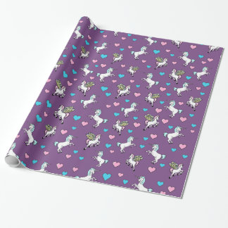 Unicorn, Pegasus and Blue and Pink Hearts Wrapping Paper