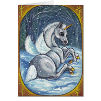 UNICORN PEGASUS FOAL Winter Note Card