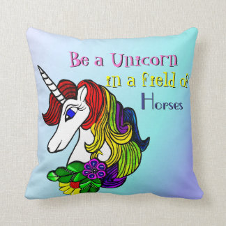 Unicorn Pillow Be a Unicorn in a field of Horses