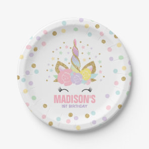 Unicorn Pink And Gold Paper Plate 7