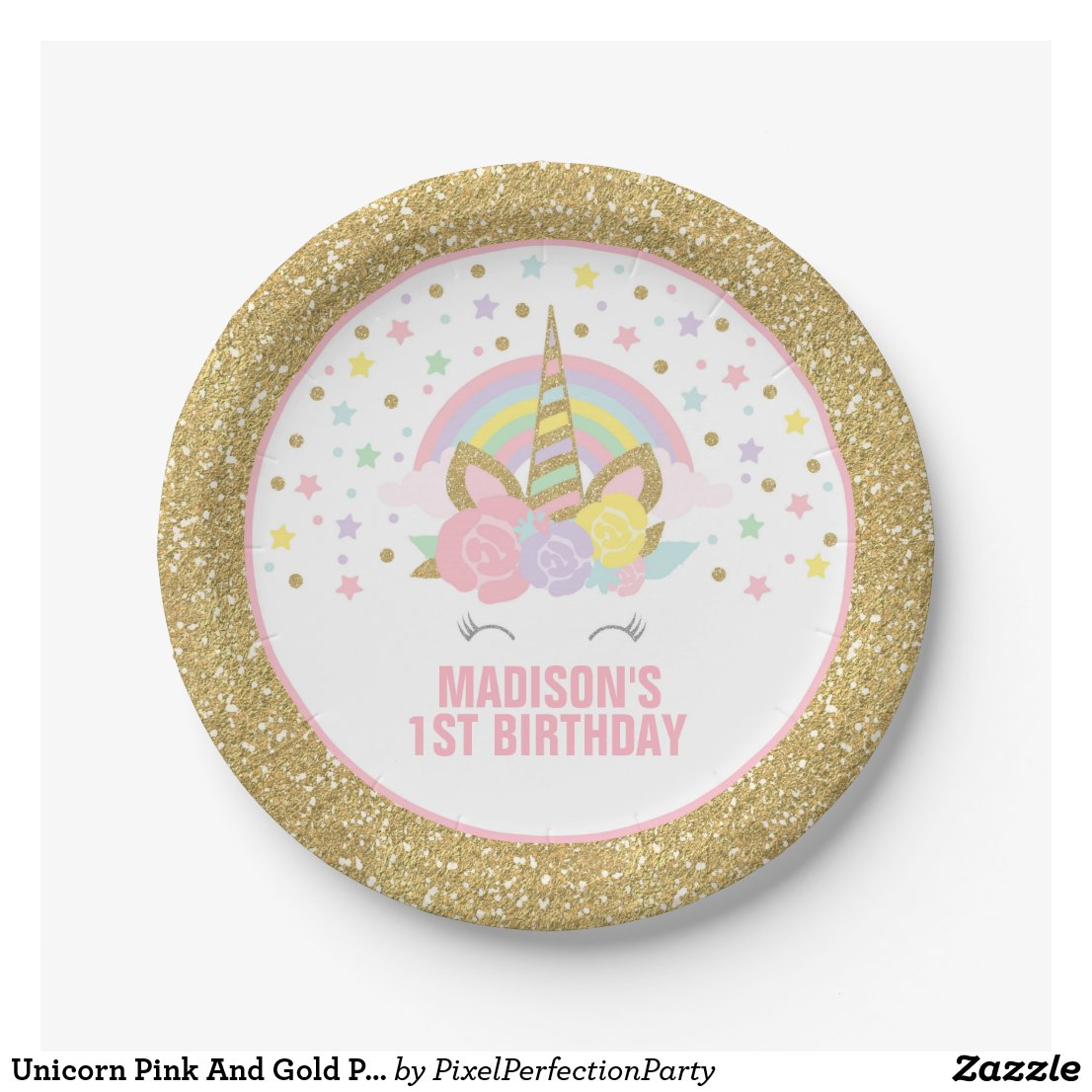 Unicorn Pink And Gold Paper Plates