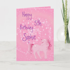 Unicorn Pink and White Cute Girl Age Birthday Card