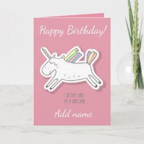 Unicorn, Pink, Birthday Card. Card