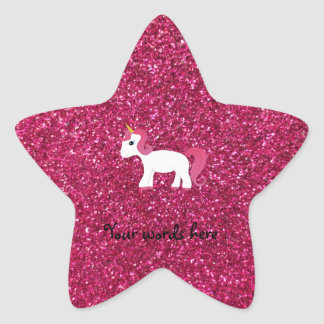Unicorn pink glitter star sticker