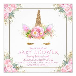 Unicorn Pink Gold Baby Shower Invitations