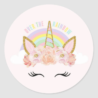 Unicorn Pink & Gold Party Favor Tag Sticker Seal