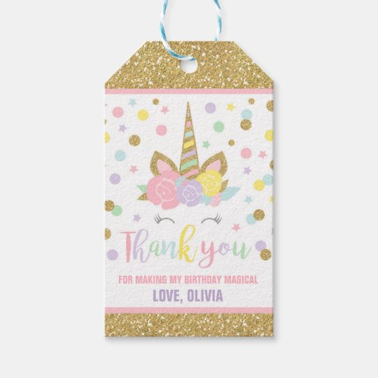 Unicorn Pink & Gold Party Favor Thank You Tag   Zazzle.co.uk