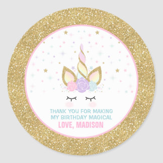 Unicorn Pink & Gold  Party Favour Tag Sticker Seal