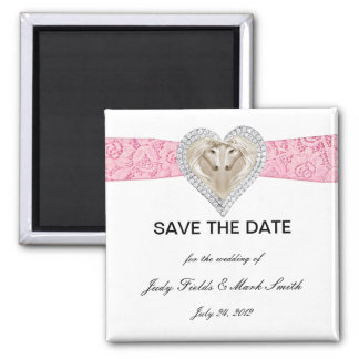 Unicorn Pink Lace Save The Date Magnet