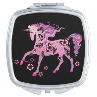 Unicorn Pink on Black Travel Mirror