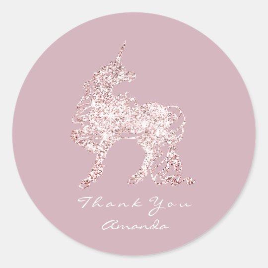 Unicorn Pink Red Bean Metallic Horse Star Thank Classic Round Sticker