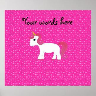 Unicorn pink stars print