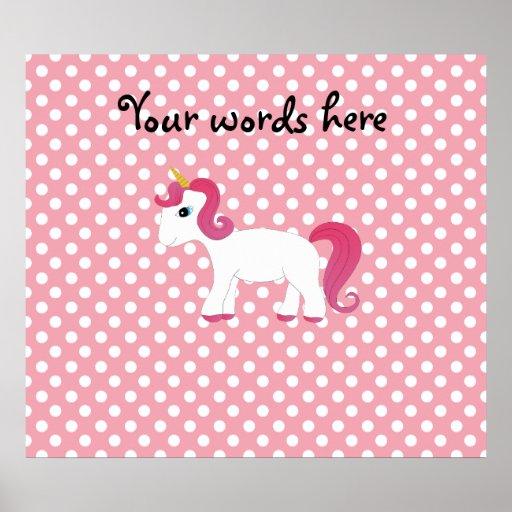Unicorn pink white polka dots poster