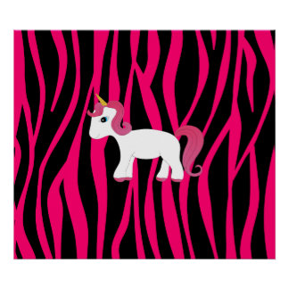 Unicorn pink zebra stripes print