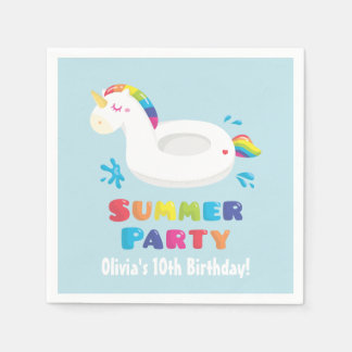 Unicorn Pool Float Summer Birthday Party Napkins Disposable Napkins