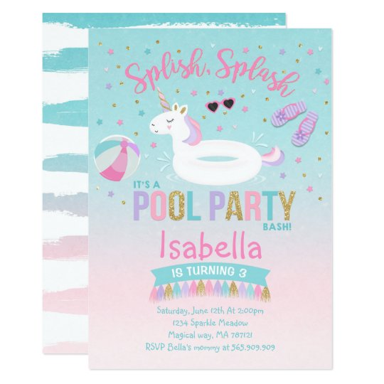Unicorn pool party birthday invitation pink gold zazzle unicorn pool party birthday invitation pink gold filmwisefo Choice Image