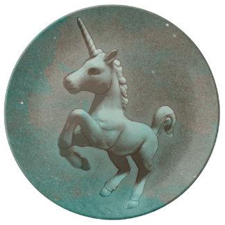 Unicorn Porcelain Plate Decor (Teal Steel)