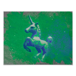 Unicorn Poster Art Print 11x8.5 (Glowing Emerald)