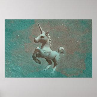 Unicorn Poster Art Print 16.5x11 (Teal Steel)